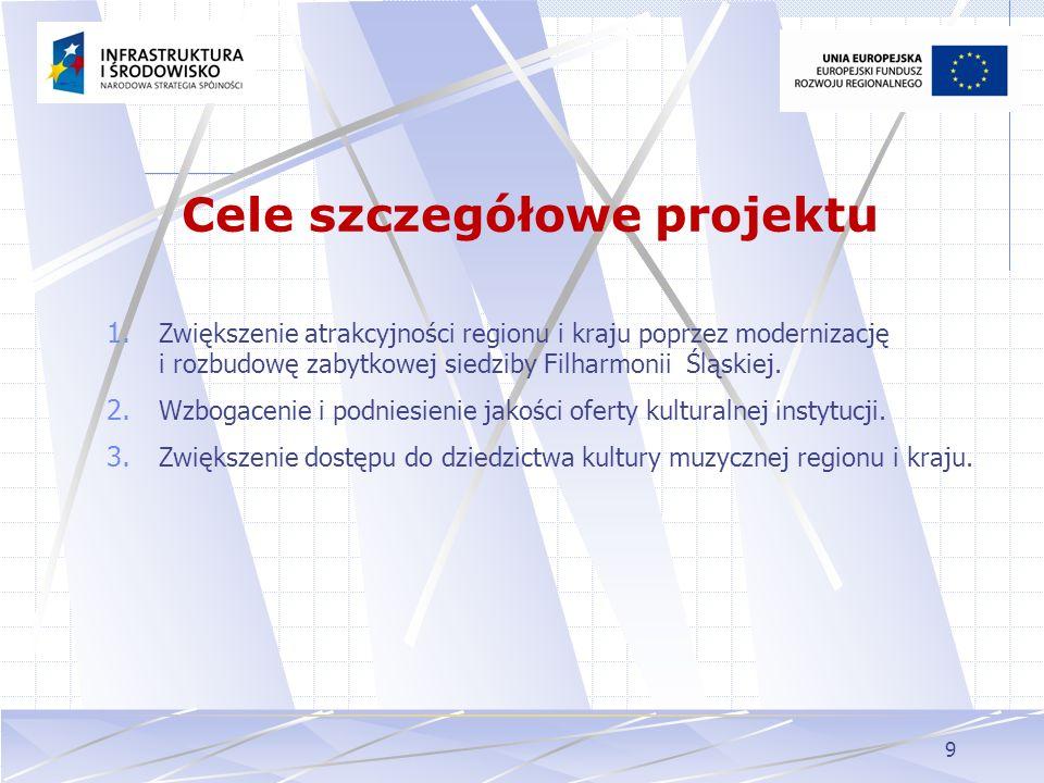 9 Cele szczegółowe projektu 1. Zwiększenie atrakcyjności regionu i kraju poprzez modernizację i rozbudowę zabytkowej siedziby Filharmonii Śląskiej. 2.