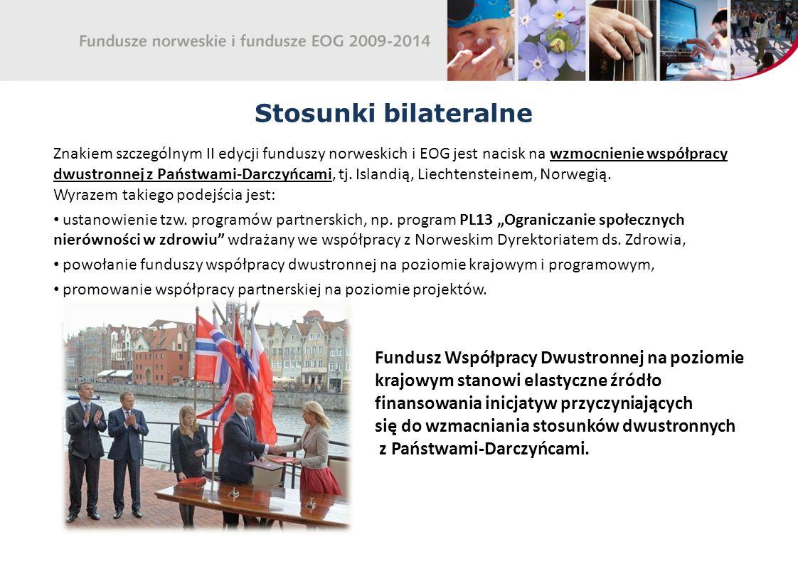 Stosunki bilateralne Znakiem szczególnym II edycji funduszy norweskich i EOG jest nacisk na wzmocnienie współpracy dwustronnej z Państwami-Darczyńcami, tj.