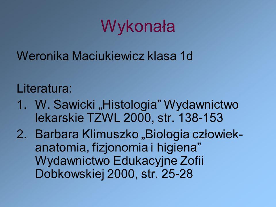 Wykonała Weronika Maciukiewicz klasa 1d Literatura: 1.W. Sawicki Histologia Wydawnictwo lekarskie TZWL 2000, str. 138-153 2.Barbara Klimuszko Biologia