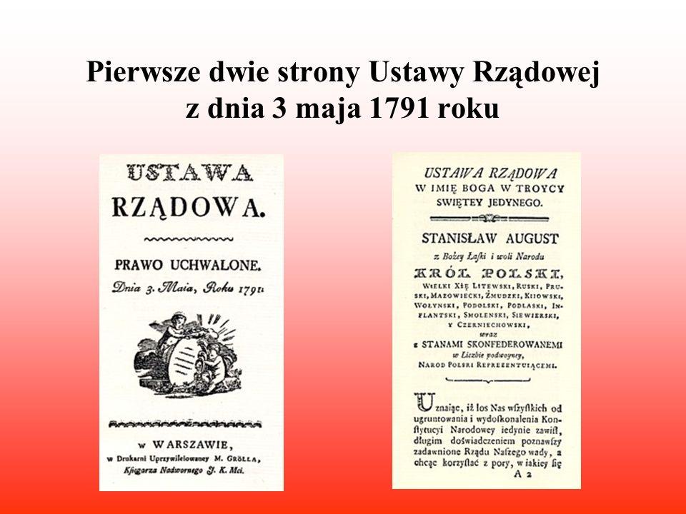 Pierwsze dwie strony Ustawy Rządowej z dnia 3 maja 1791 roku