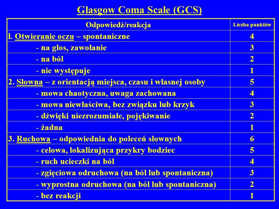 Glasgow Coma Scale (GCS) Odpowiedź/reakcja Liczba punktów l. Otwieranie oczu – spontaniczne 4 - na glos, zawołanie 3 - na ból 2 - nie występuje 1 2. S