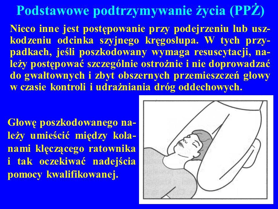 Podstawowe podtrzymywanie życia (PPŻ) Nieco inne jest postępowanie przy podejrzeniu lub usz- kodzeniu odcinka szyjnego kręgosłupa. W tych przy- padkac