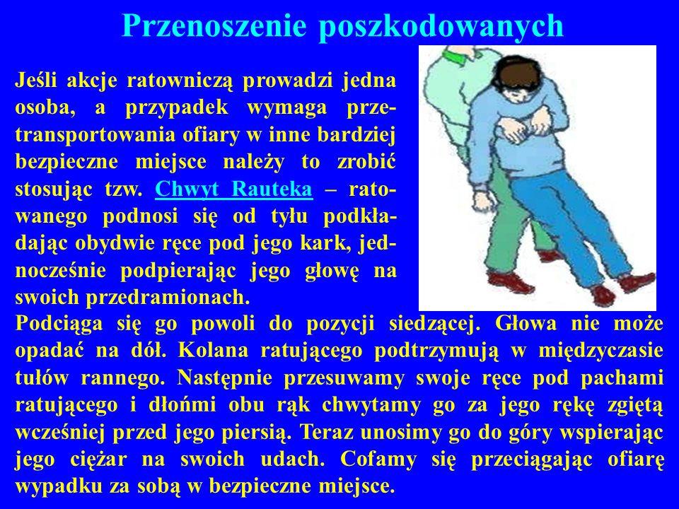 Przenoszenie poszkodowanych Jeśli akcje ratowniczą prowadzi jedna osoba, a przypadek wymaga prze- transportowania ofiary w inne bardziej bezpieczne mi