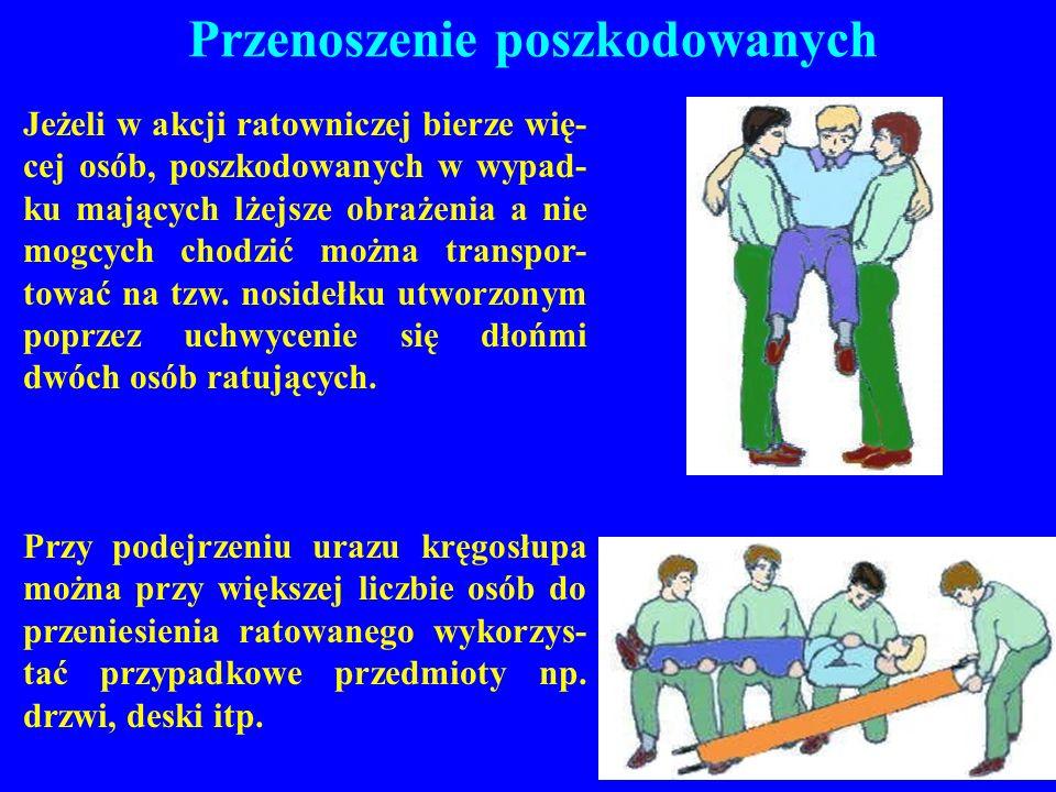 Przenoszenie poszkodowanych Jeżeli w akcji ratowniczej bierze wię- cej osób, poszkodowanych w wypad- ku mających lżejsze obrażenia a nie mogcych chodz