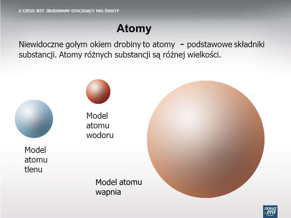 Atomy Niewidoczne gołym okiem drobiny to atomy ̵ podstawowe składniki substancji. Atomy różnych substancji są różnej wielkości. Model atomu tlenu Mode