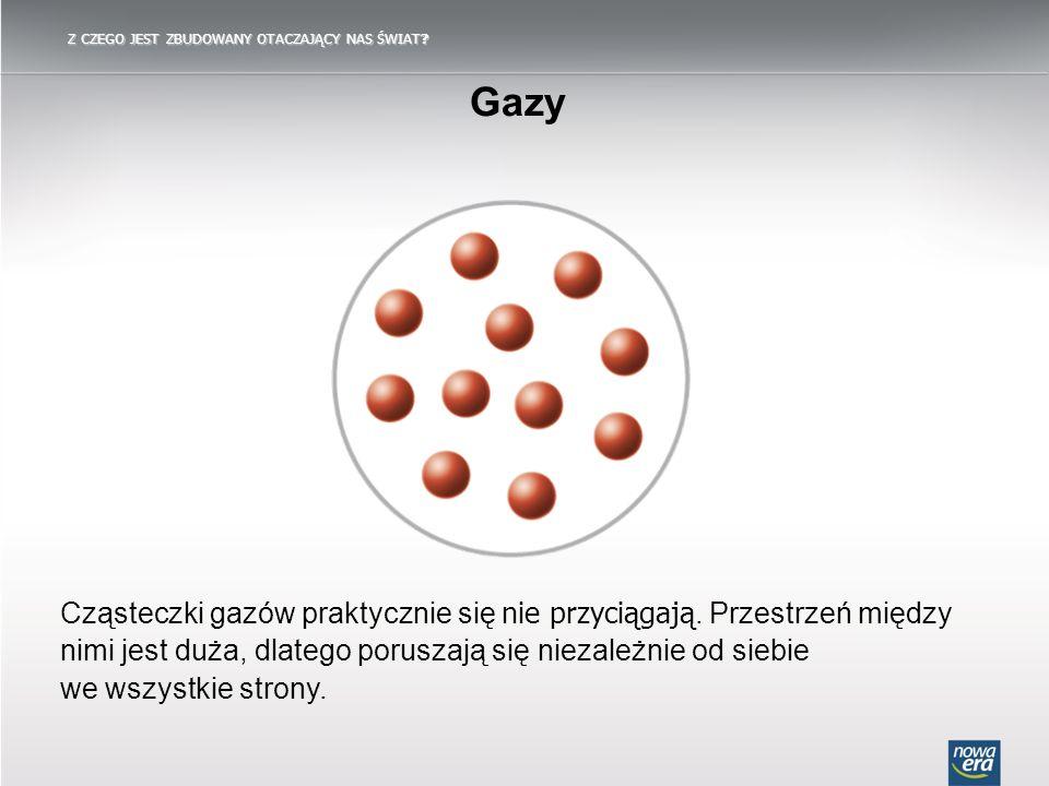 Z CZEGO JEST ZBUDOWANY OTACZAJĄCY NAS ŚWIAT? Gazy Cząsteczki gazów praktycznie się nie przyciągają. Przestrzeń między nimi jest duża, dlatego poruszaj