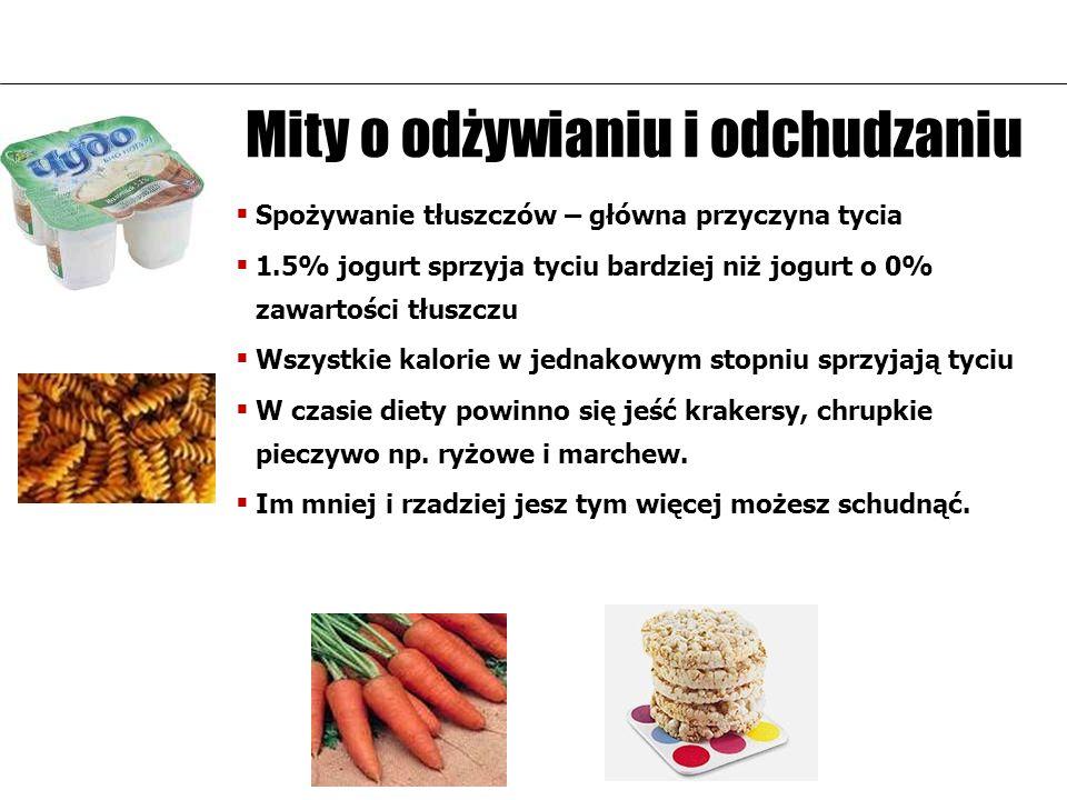 Mity о odżywianiu i odchudzaniu Spożywanie tłuszczów – główna przyczyna tycia 1.5% jogurt sprzyja tyciu bardziej niż jogurt o 0% zawartości tłuszczu W