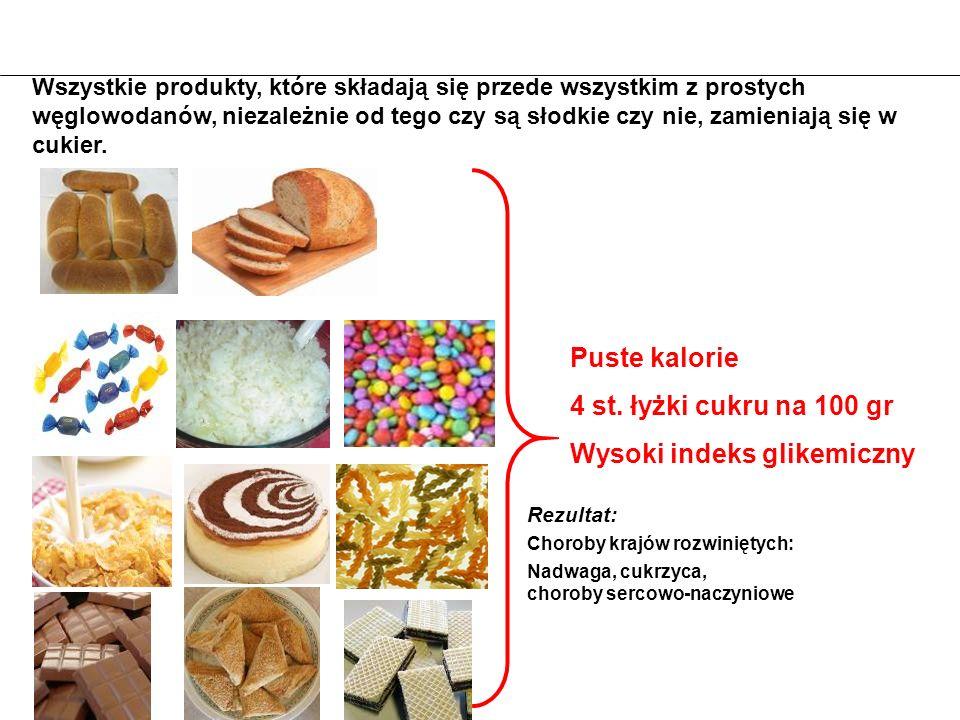 Rezultat: Choroby krajów rozwiniętych: Nadwaga, cukrzyca, choroby sercowo-naczyniowe 4 st. łyżki cukru na 100 gr Puste kalorie Wysoki indeks glikemicz