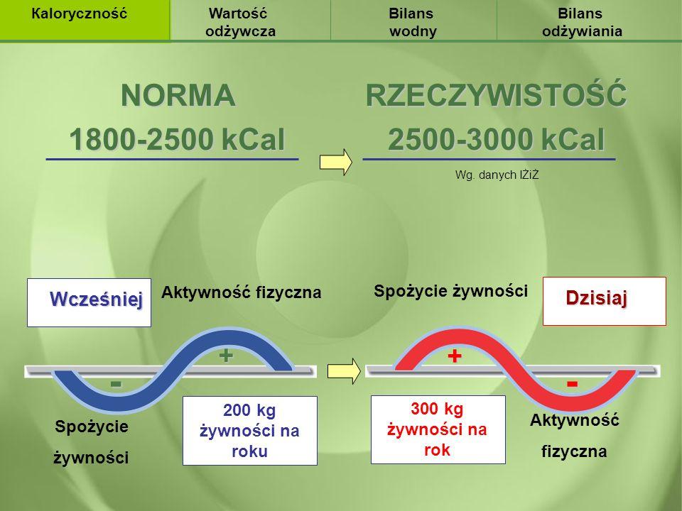 Wcześniej Aktywność fizyczna Spożycie żywności + - 200 kg żywności na roku Aktywność fizyczna Spożycie żywności+ - 300 kg żywności na rok Dzisiaj Wart