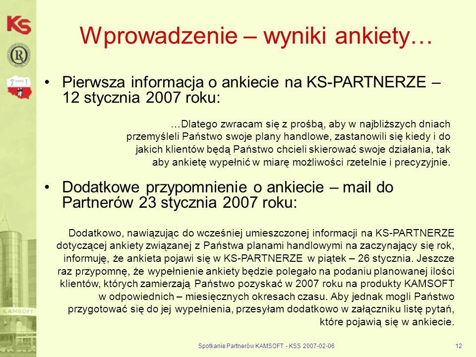Spotkanie Partnerów KAMSOFT - KSS 2007-02-0612 Wprowadzenie – wyniki ankiety… Pierwsza informacja o ankiecie na KS-PARTNERZE – 12 stycznia 2007 roku: