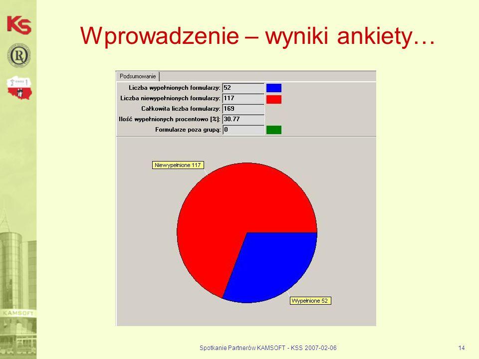 Spotkanie Partnerów KAMSOFT - KSS 2007-02-0614 Wprowadzenie – wyniki ankiety…
