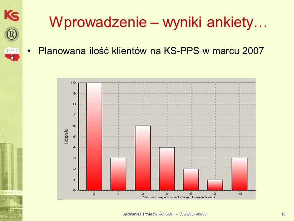 Spotkanie Partnerów KAMSOFT - KSS 2007-02-0616 Wprowadzenie – wyniki ankiety… Planowana ilość klientów na KS-PPS w marcu 2007