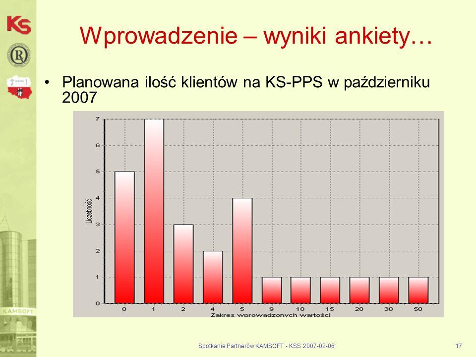 Spotkanie Partnerów KAMSOFT - KSS 2007-02-0617 Wprowadzenie – wyniki ankiety… Planowana ilość klientów na KS-PPS w październiku 2007