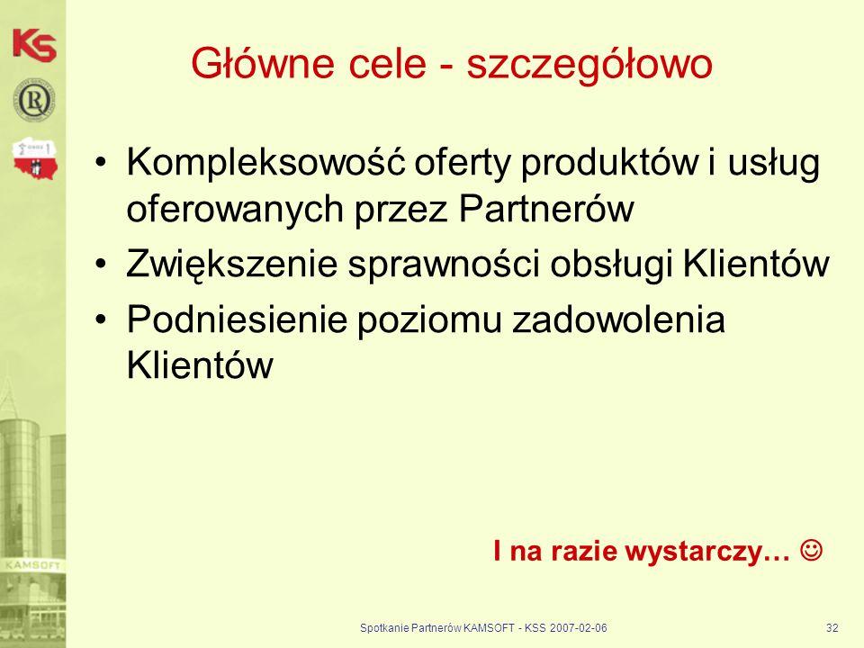 Spotkanie Partnerów KAMSOFT - KSS 2007-02-0632 Główne cele - szczegółowo Kompleksowość oferty produktów i usług oferowanych przez Partnerów Zwiększeni