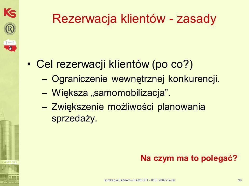 Spotkanie Partnerów KAMSOFT - KSS 2007-02-0636 Rezerwacja klientów - zasady Cel rezerwacji klientów (po co?) –Ograniczenie wewnętrznej konkurencji. –W