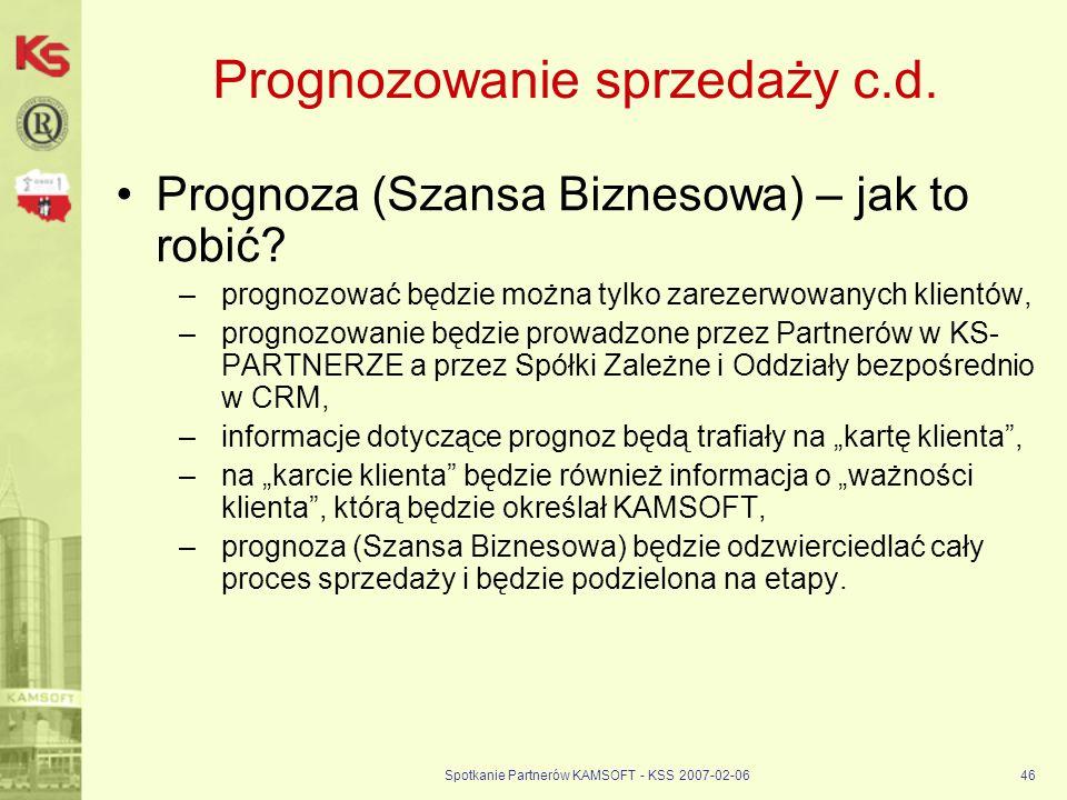 Spotkanie Partnerów KAMSOFT - KSS 2007-02-0646 Prognozowanie sprzedaży c.d. Prognoza (Szansa Biznesowa) – jak to robić? –prognozować będzie można tylk