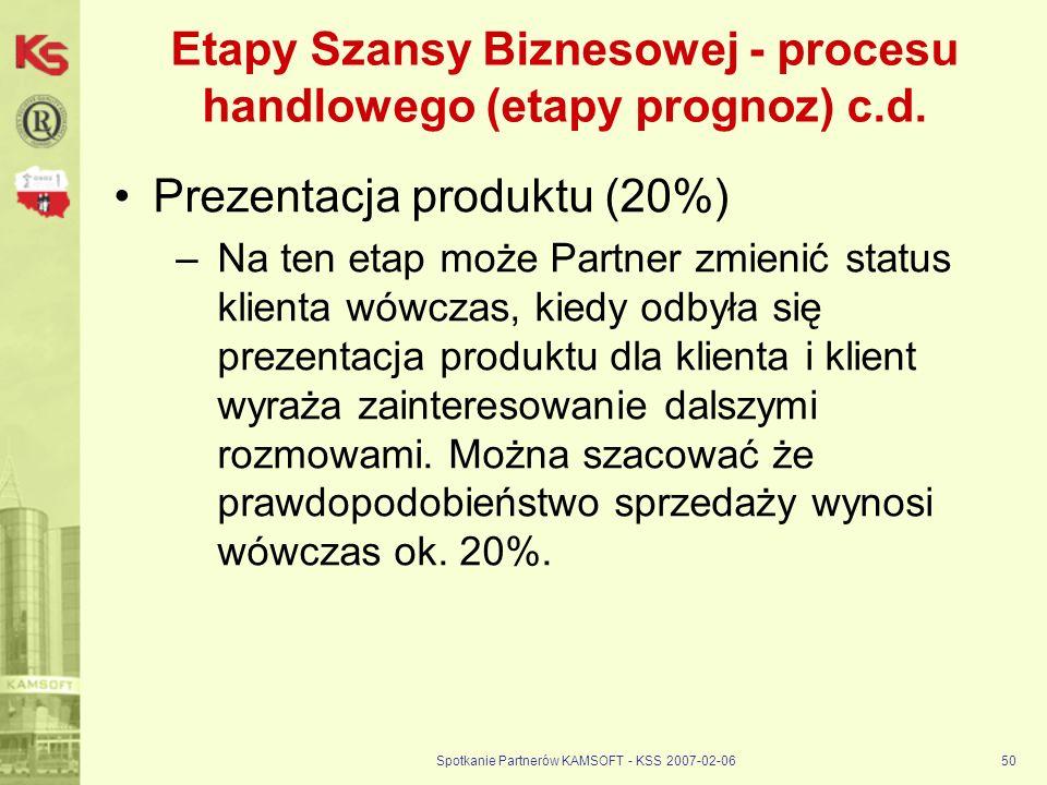 Spotkanie Partnerów KAMSOFT - KSS 2007-02-0650 Etapy Szansy Biznesowej - procesu handlowego (etapy prognoz) c.d. Prezentacja produktu (20%) –Na ten et