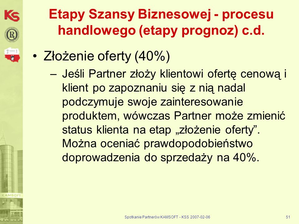 Spotkanie Partnerów KAMSOFT - KSS 2007-02-0651 Etapy Szansy Biznesowej - procesu handlowego (etapy prognoz) c.d. Złożenie oferty (40%) –Jeśli Partner