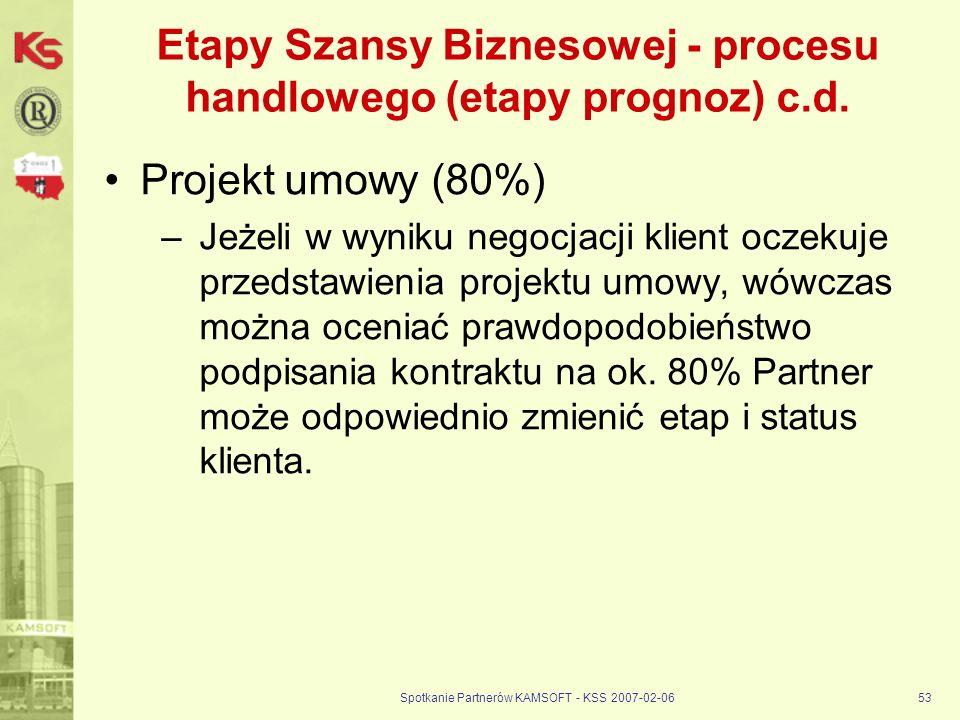 Spotkanie Partnerów KAMSOFT - KSS 2007-02-0653 Etapy Szansy Biznesowej - procesu handlowego (etapy prognoz) c.d. Projekt umowy (80%) –Jeżeli w wyniku