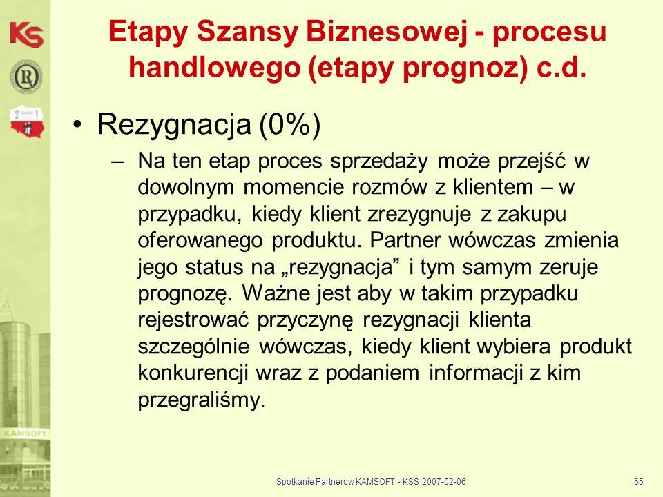 Spotkanie Partnerów KAMSOFT - KSS 2007-02-0655 Etapy Szansy Biznesowej - procesu handlowego (etapy prognoz) c.d. Rezygnacja (0%) –Na ten etap proces s