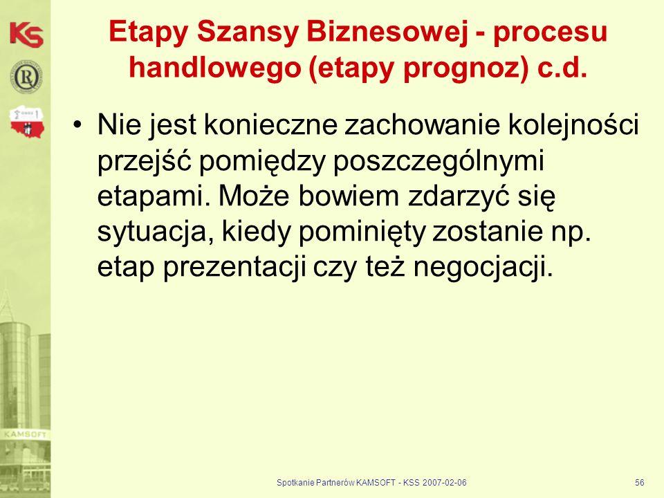 Spotkanie Partnerów KAMSOFT - KSS 2007-02-0656 Etapy Szansy Biznesowej - procesu handlowego (etapy prognoz) c.d. Nie jest konieczne zachowanie kolejno