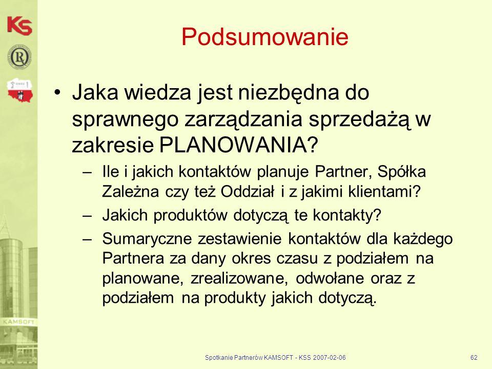 Spotkanie Partnerów KAMSOFT - KSS 2007-02-0662 Podsumowanie Jaka wiedza jest niezbędna do sprawnego zarządzania sprzedażą w zakresie PLANOWANIA? –Ile