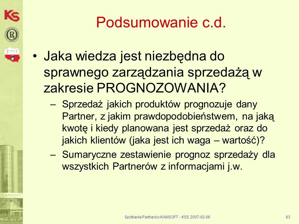 Spotkanie Partnerów KAMSOFT - KSS 2007-02-0663 Podsumowanie c.d. Jaka wiedza jest niezbędna do sprawnego zarządzania sprzedażą w zakresie PROGNOZOWANI