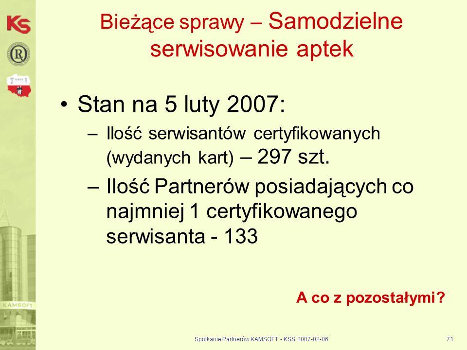 Spotkanie Partnerów KAMSOFT - KSS 2007-02-0671 Bieżące sprawy – Samodzielne serwisowanie aptek Stan na 5 luty 2007: –Ilość serwisantów certyfikowanych