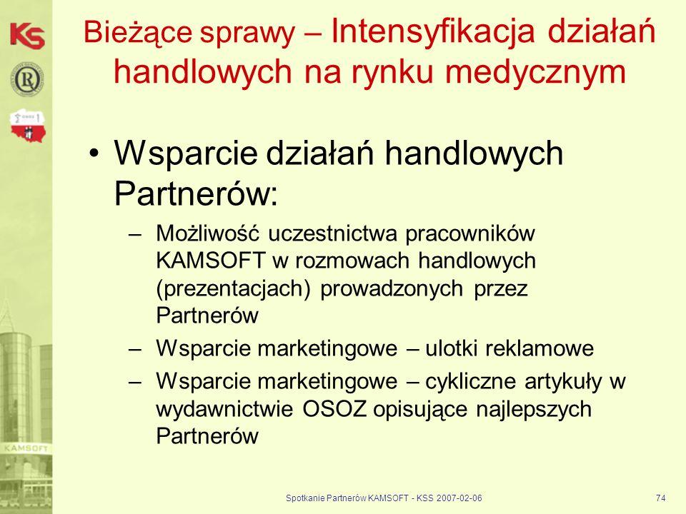 Spotkanie Partnerów KAMSOFT - KSS 2007-02-0674 Bieżące sprawy – Intensyfikacja działań handlowych na rynku medycznym Wsparcie działań handlowych Partn