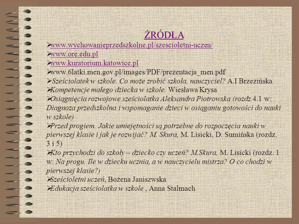 ŻRÓDŁA www.wychowanieprzedszkolne.pl/szescioletni-uczen/ www.ore.edu.pl www.kuratorium.katowice.pl www.6latki.men.gov.pl/images/PDF/prezentacja_men.pd