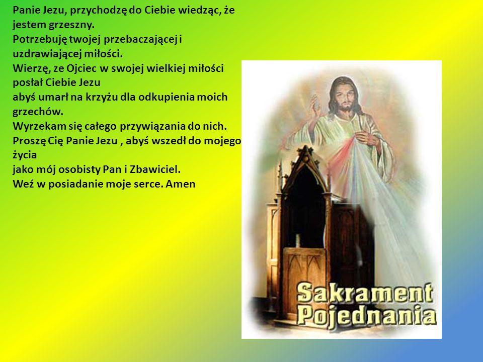 Panie Jezu, przychodzę do Ciebie wiedząc, że jestem grzeszny. Potrzebuję twojej przebaczającej i uzdrawiającej miłości. Wierzę, ze Ojciec w swojej wie