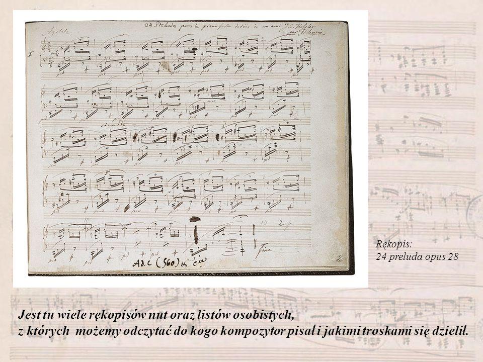 Rękopis: 24 preluda opus 28 Jest tu wiele rękopisów nut oraz listów osobistych, z których możemy odczytać do kogo kompozytor pisał i jakimi troskami s