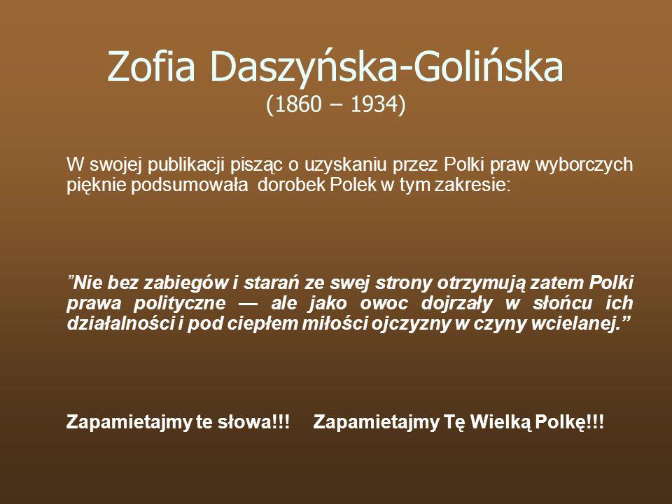 W swojej publikacji pisząc o uzyskaniu przez Polki praw wyborczych pięknie podsumowała dorobek Polek w tym zakresie: Nie bez zabiegów i starań ze swej
