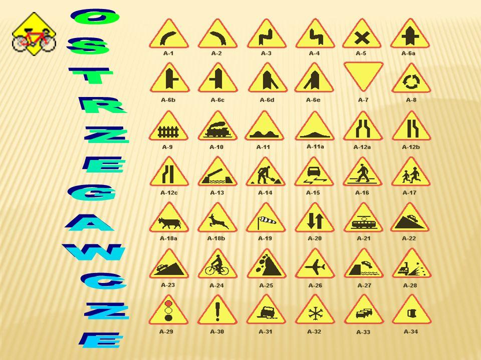 Znaki ostrzegawcze uprzedzają o miejscach, w których na drodze może występować niebezpieczeństwo i zobowiązują do zachowania ostrożności zwanej szczeg