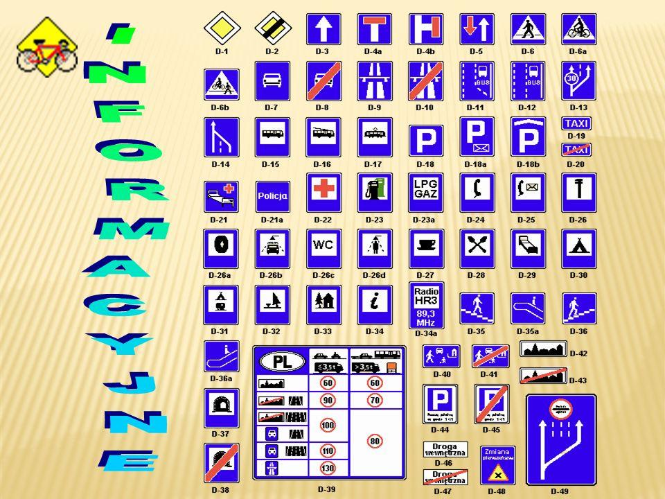 Znaki informacyjne podają informacje niezbędne nieraz dla kierujących pojazdami. Posiadają na ogół niebieską kolorystykę i kształt prostokąta lub kwad
