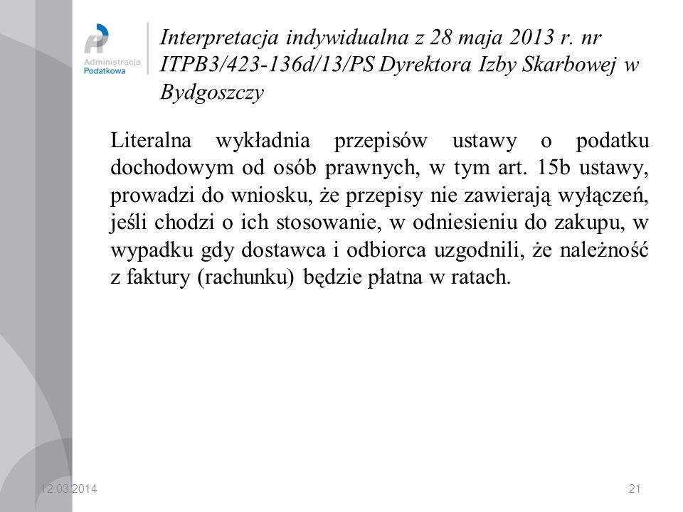 21 Interpretacja indywidualna z 28 maja 2013 r.