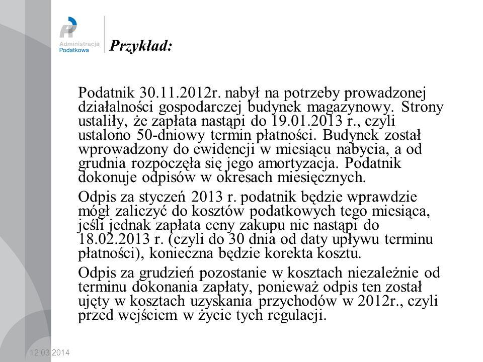 12.03.2014 Przykład: Podatnik 30.11.2012r.