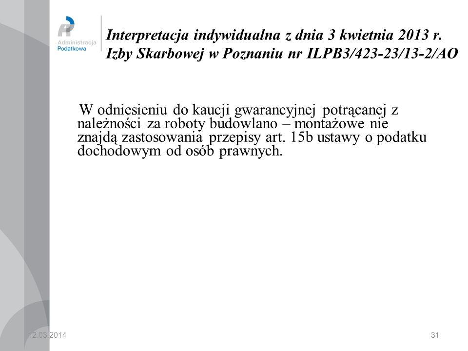 31 Interpretacja indywidualna z dnia 3 kwietnia 2013 r.