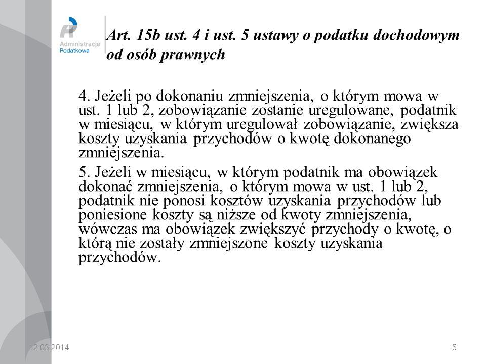 art.15b ust. 8 ustawy o podatku dochodowym od osób prawnych Jeżeli zgodnie z art.