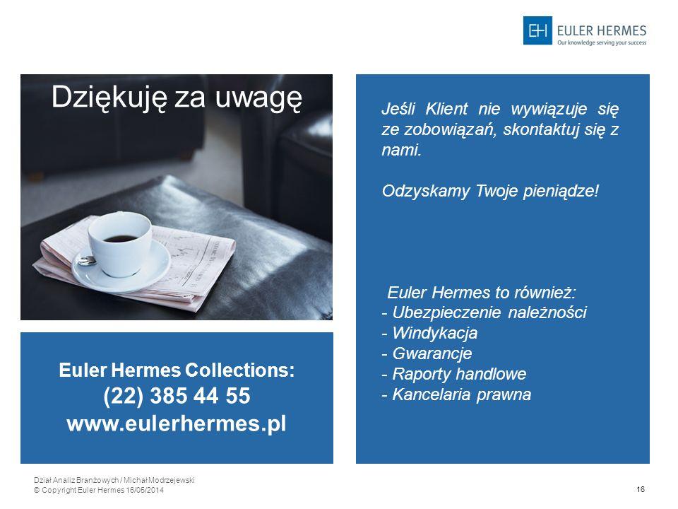 16 Dział Analiz Branżowych / Michał Modrzejewski © Copyright Euler Hermes 16/05/2014 Dziękuję za uwagę Jeśli Klient nie wywiązuje się ze zobowiązań, s