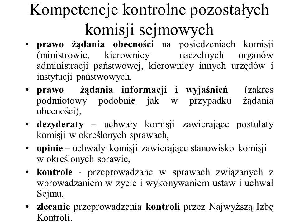 Kompetencje kontrolne pozostałych komisji sejmowych prawo żądania obecności na posiedzeniach komisji (ministrowie, kierownicy naczelnych organów admin