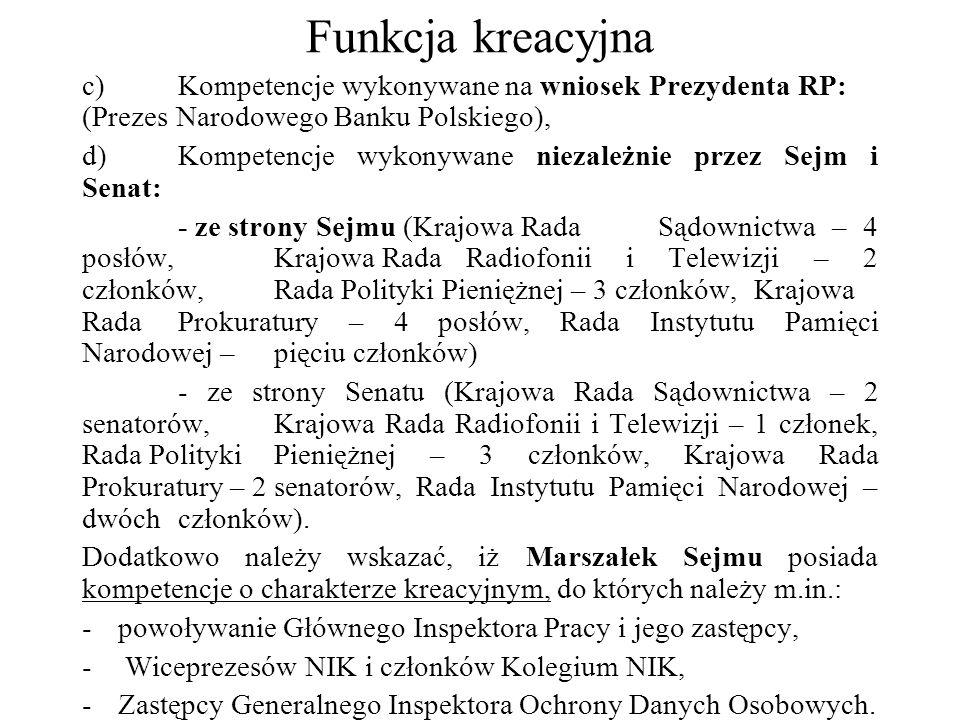 Funkcja kreacyjna c) Kompetencje wykonywane na wniosek Prezydenta RP: (Prezes Narodowego Banku Polskiego), d) Kompetencje wykonywane niezależnie przez