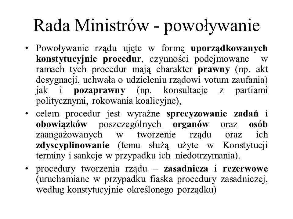 Rada Ministrów - powoływanie Powoływanie rządu ujęte w formę uporządkowanych konstytucyjnie procedur, czynności podejmowane w ramach tych procedur maj