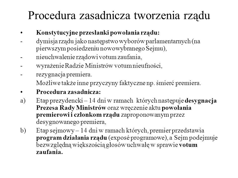 Procedura zasadnicza tworzenia rządu Konstytucyjne przesłanki powołania rządu: -dymisja rządu jako następstwo wyborów parlamentarnych (na pierwszym po