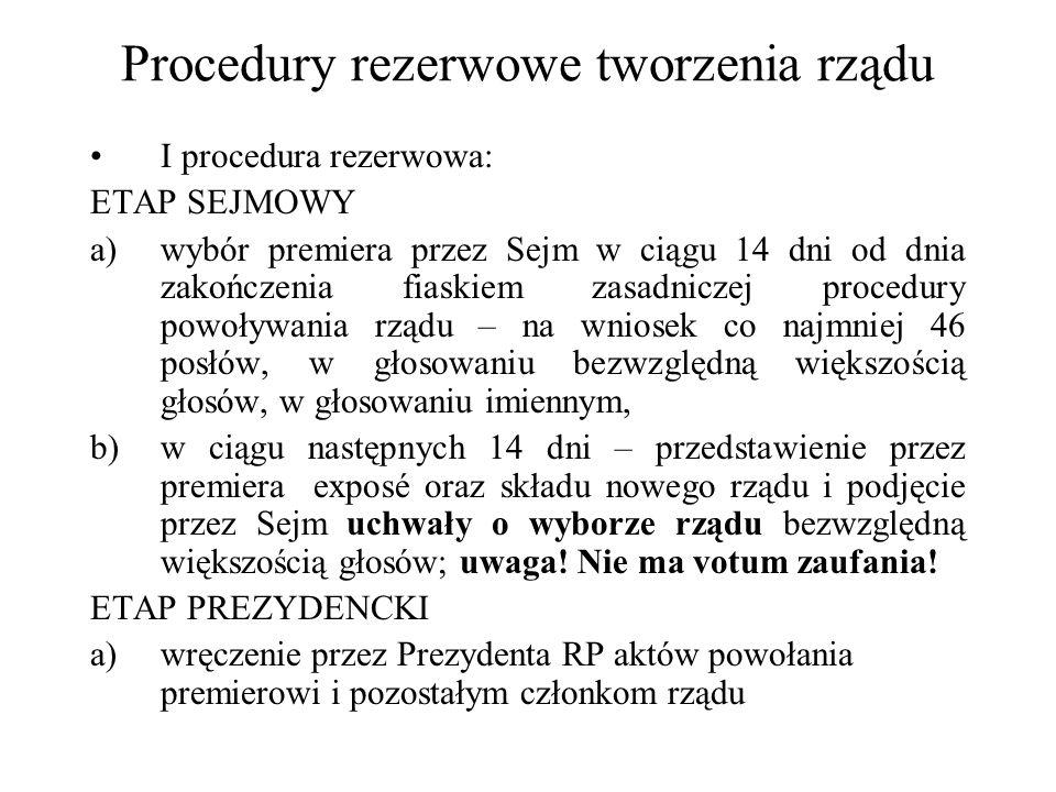 Procedury rezerwowe tworzenia rządu I procedura rezerwowa: ETAP SEJMOWY a)wybór premiera przez Sejm w ciągu 14 dni od dnia zakończenia fiaskiem zasadn