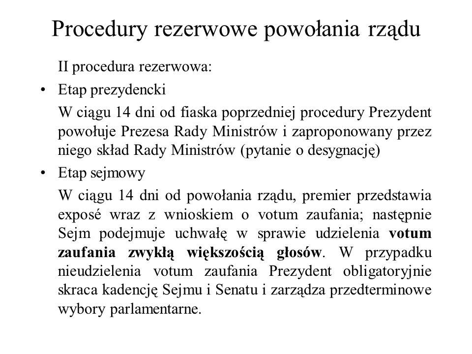 Procedury rezerwowe powołania rządu II procedura rezerwowa: Etap prezydencki W ciągu 14 dni od fiaska poprzedniej procedury Prezydent powołuje Prezesa