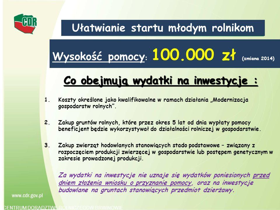 Wysokość pomocy : 100.000 zł (zmiana 2014) Co obejmują wydatki na inwestycje : 1.Koszty określone jako kwalifikowalne w ramach działania Modernizacja