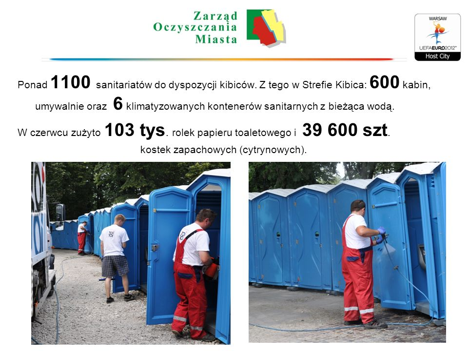 6 KOSZTY OCZYSZCZANIA I ZABEZPIECZENIA SANITARNEGO MIASTA PODCZAS UEFA EURO 2012 TM 5 mln zł sprzątanie ulic, chodników, zieleni przyulicznej, parków, praca Pogotowia Porządkowego, opróżnianie koszy na śmieci oraz eksploatacja kabin sanitarnych
