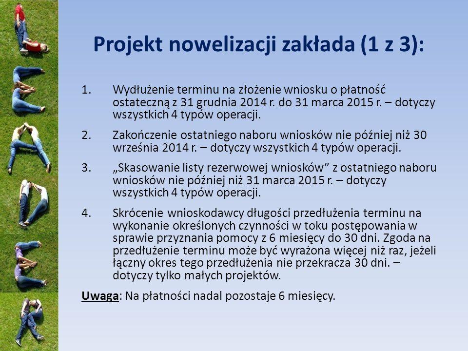 Projekt nowelizacji zakłada (1 z 3): 1.Wydłużenie terminu na złożenie wniosku o płatność ostateczną z 31 grudnia 2014 r.