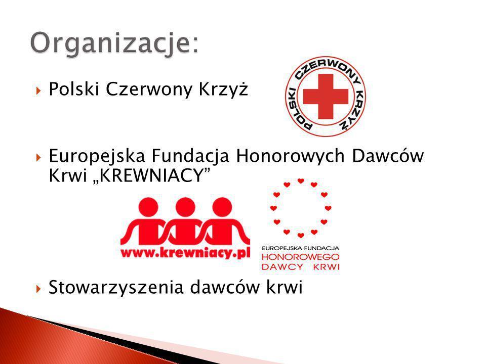 Polski Czerwony Krzyż Europejska Fundacja Honorowych Dawców Krwi KREWNIACY Stowarzyszenia dawców krwi